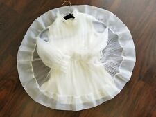 Vintage Girls Sheer White Chiffon Pinafore Ircle Dress Size 5 1970's