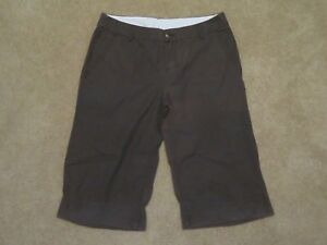 New Women's Hurley Khaki Cuffed Capris Brown Cropped Chino Pants Junior's Size 9