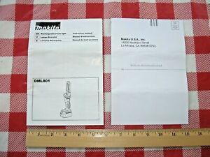 Makita Rechargeable Flashlight Instruction Manual DML801