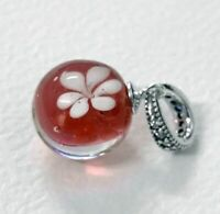 Sterling Silver Charm White Peach Blossom Red Murano Glass Pendant