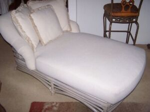 Stylish Ficks Reed Extra Wide Chaise Lounge - 1980s