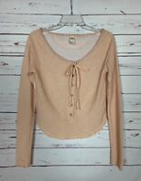 Free People We The Free Women's M Medium Peach Long Sleeve Spring Cute Top Shirt