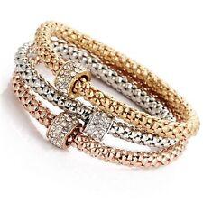 Rose Gold/Silver Plated Circle Beaded Crystal Charm Bangle Bracelet Wedding Gift