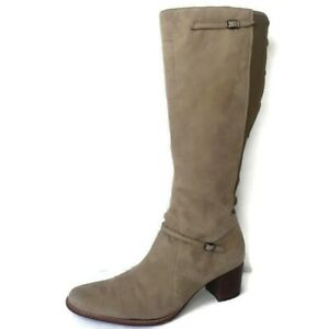 Timberland Leather Tasa Tan Suede Block Heel Stretch Calf Tall Boots Womens 10 W