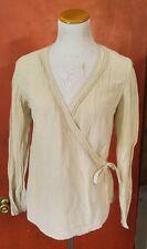 J Jill Womens S Beige Hemp Silk Blend Wrap Career Blouse Ivory Tunic Shirt