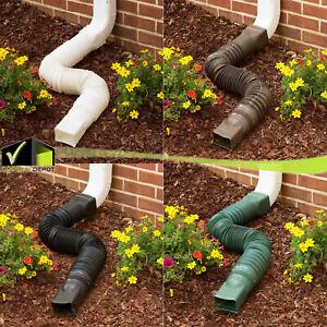 """Expandable 25-55"""" Flex Drain Downspout Extension Rain Pipe Spout Gutter Flexible"""