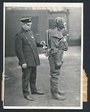 1932 POLICE EMERGENCY SQUAD Vintage Photo OFFICER IN CRAZY UNIFORM