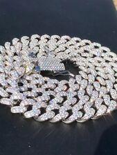 "Mens Miami Cuban 15mm Chain Solid 925 Silver Diamonds 30"" HEAVY 338 Gram HIP HOP"
