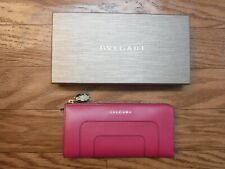 BVLGARI Serpenti Forever Pink Spinel Color Calf Leather Zip Around Wallet ~NWTB~