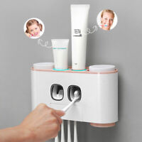 Auto Automatic Toothpaste Dispenser Toothbrush Holder Wall Mount Stand