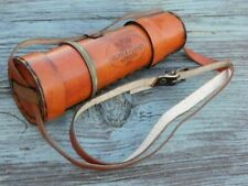 Antique BRASS KELVIN & HUGHES SPYGLASS TELESCOPE WITH LEATHER CARRY CASE STYLE
