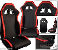 2 BLACK & RED CLOTH RACING SEATS RECLINABLE + SLIDERS VOLKSWAGEN NEW *