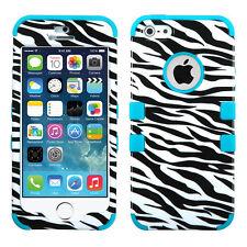 Apple iPhone 5S SE Rubber IMPACT TUFF HYBRID Case Skin Phone Cover Zebra Teal