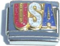 Italian Charm USA Glitter United States American Proud