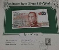 1980 Luxembourg 100 Francs Banknote Crisp Uncirculated in Stamped Info Card