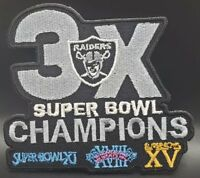 Oakland Raiders~3 x World Champs~Iron On Patch~Free Shipping from the USA~