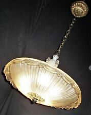 VTG ART DECO HANGING CHANDELIER CRYSTAL CEILING FIXTURE GLASS SHADE 40'S