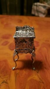 Antique Silver Miniature Repousse Cabriolet Legs Snuff Box Late1800's