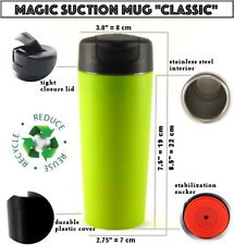 MAGIC SUCTION MUG Classic Green ✈ Travel coffee cup for all Mighty Hikes +GIFT🎁