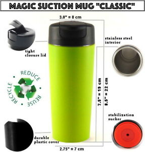 MAGIC SUCTION MUG Classic Green ✈ Travel coffee cup for all Mighty Hikes