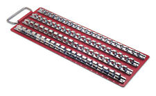 80 pc SOCKET RACK TRAY  4 FIXED RAIL & CLIPS 1/4 3/8 1/2 LASER 2664