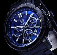 Pierrini Herren Armband Uhr Schwarz Blau Chronograph Stoppuhr RB5 Datum