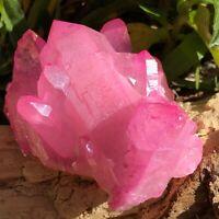 RARE 260g Titanium Rose Pink Aura Quartz Crystal Cluster Energy Healing Specimen