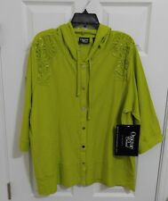 Onque Casuals Woman Plus 1X Hoodie Jacket Plus Green Crochet NWT$59