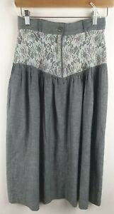 Vintage 1980s Alessio Did It Lace Topped Grey Skirt With Pockets Size  10