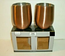 Set Of 2 Copper Plated Stainless Steel 12 oz Stemless Wine Glasses