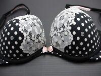 34C Victoria's Secret Women's Black/White Push Up Polka D Underwire Lace Bra 1F
