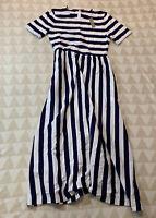 J Crew Maxi Dress Blue Rugby Stripes Stretch AR642 A-line Size 10