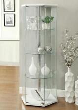 Curio Glass Cabinet Corner Tower Rectangular Display Ornaments Shelves Furniture