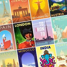 VINTAGE TRAVEL POSTERS City Country Wall Art Retro PHOTO Print POSTER Prints x89