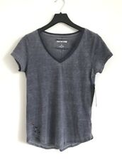 True Religion Jeans V Neck Burnout French T-shirt Blue Size S