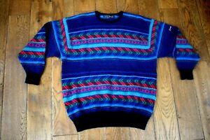 Vintage Nick Faldo Jumper Patterned Bright 100% Wool