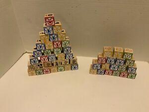 Vintage Disney Children's Wooden Building Blocks lot of 50 Letter & Numbers ABC