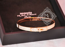 NEW HERMES $50000 ROSE GOLD PAVE 3.15 CT 499 DIAMOND KELLY BRACELET BANGLE CDC