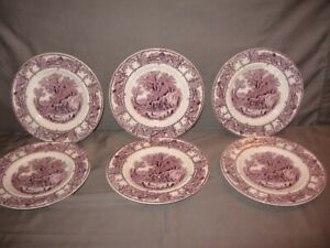 "Lot of 6 Royal Staffordshire Bread & Butter Plates ""Rural Scenes"" Purple"