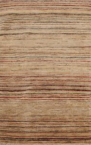 Contemporary Striped Gabbeh Oriental Area Rug Wool Hand-Knotted 3x5 Foyer Carpet