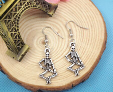1 pair Free shipping Fashion Antique silver Jewelry 3D human skeleton earring