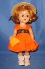 """Vintage 1950s Vogue Ginny 7.5"""" BKW Doll In TAGGED """"Vogue"""" Dress"""