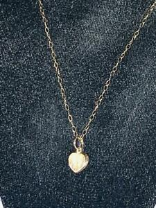 """LADIES PETITE 9CT GOLD SMALL HEART PENDANT 16"""" NECKLACE CHAIN 375 9K  JEWELERY"""