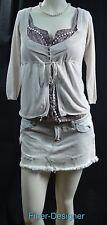 KOOKAI MIX TOP Textured cami knit cardigan fine knit mock 2pc set shabby 1 S NEW