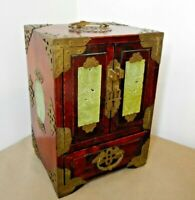 ANTIQUE CHINESE JADE SET BRASS BOUND JEWELRY CHEST BOX - FRENCH SECTOR SHANGHAI