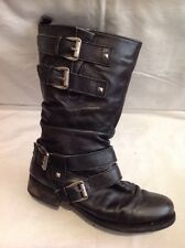 Next Dark Grey Mid Calf Leather Boots Size 38