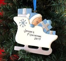 First Christmas Personalised Tree Decoration Baby's 1st Xmas Red Blue Pink Gift