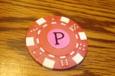 """ P "" Monogram Dice design Poker Chip,Golf Ball Marker,Card Guard Red/White"