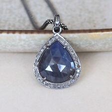 U&C Sundance Diamond Pave Blue Sapphire Rhodium Sterling Silver Chain Necklace
