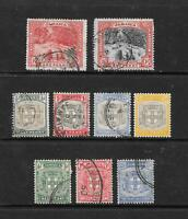1900-1905 King Edward VII Early Collection of 9 stamps Fine Used JAMAICA